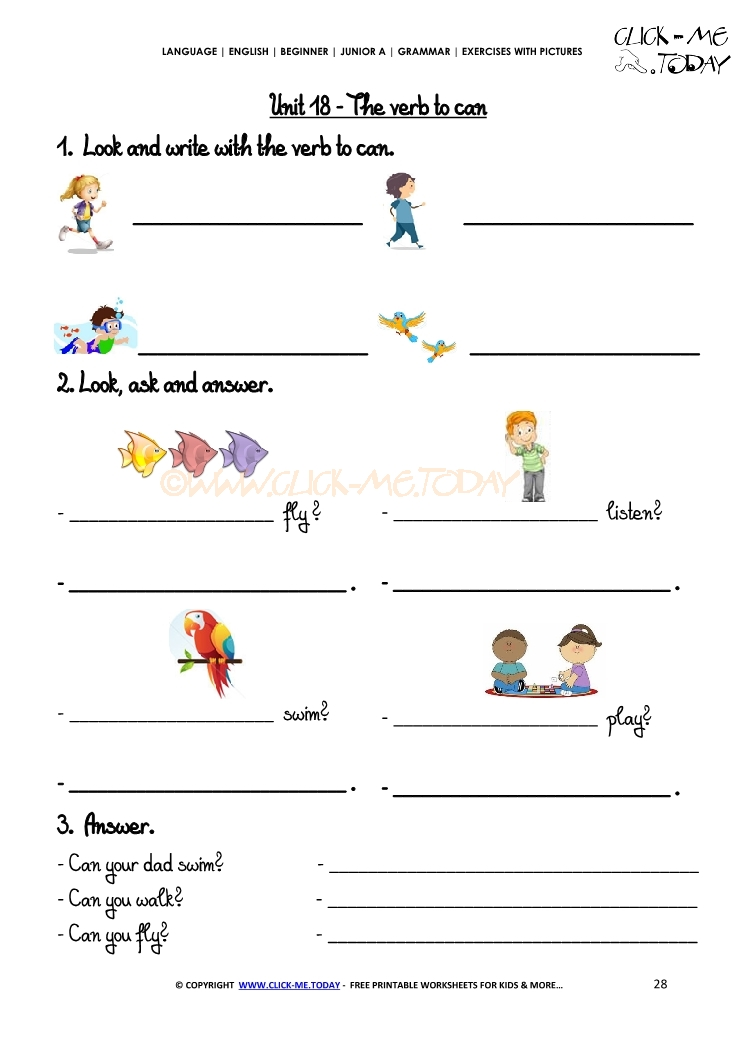 Grammar Exercises With Pictures - Verb to can 2