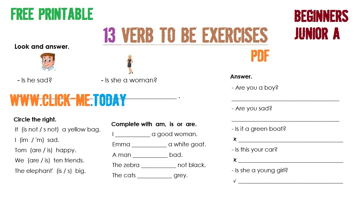 VERB TO BE EXERCISES JUNIOR A PDF WITH ANSWERS