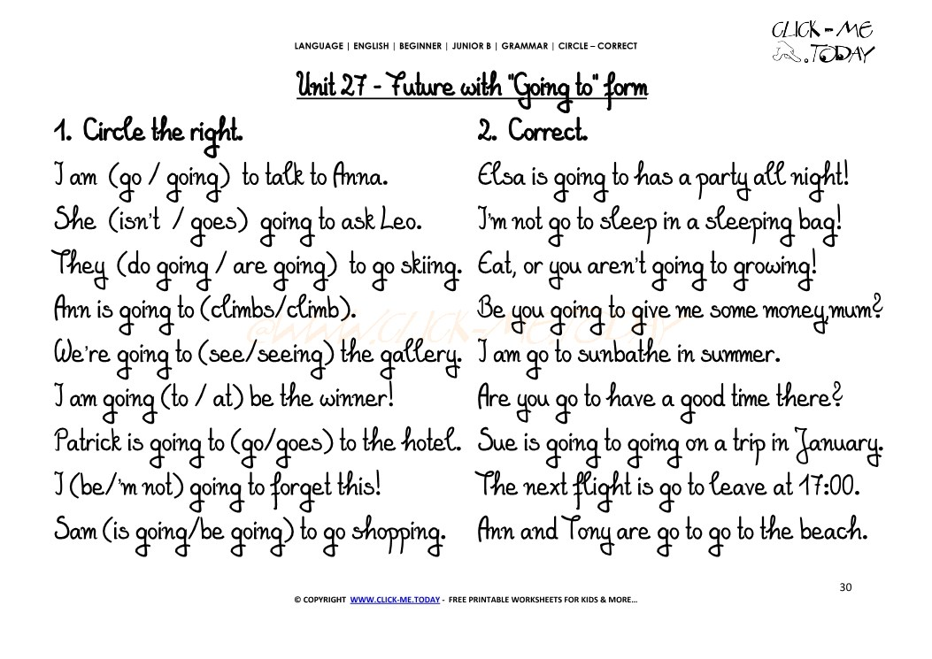 JUNIOR B-GRAMMAR EXERCISES CIRCLE-CORRECT -Future with Going to form -U27