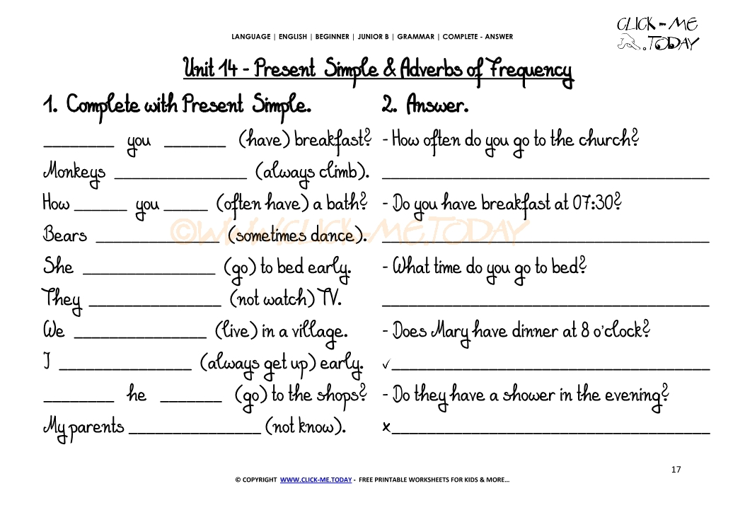 FREE PRINTABLE GRAMMAR WORKSHEET C-A - Adverbs of ...