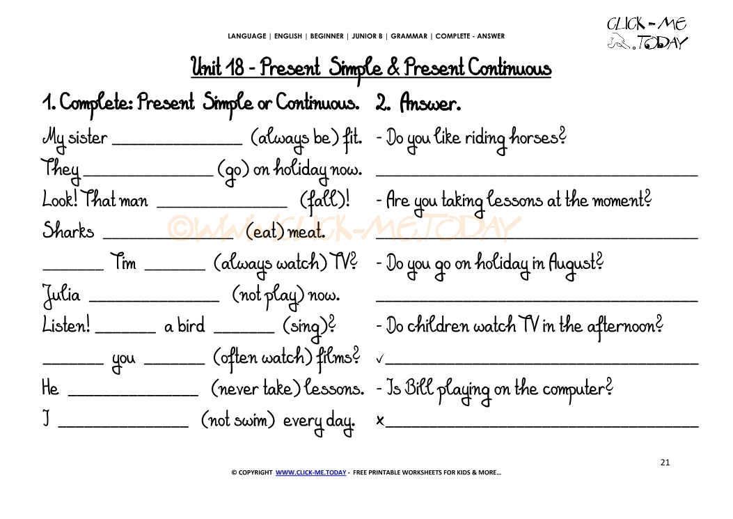 Present simple + Present continuous | Worksheets - PDF