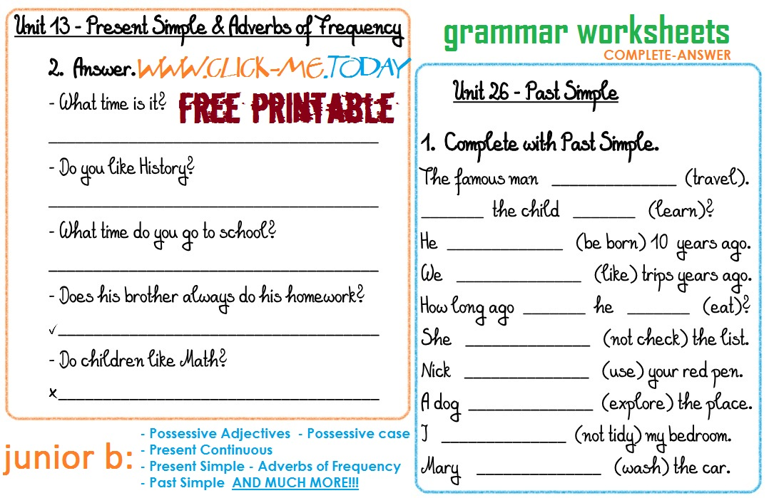 Printables Printable Grammar Worksheets junior b free printable grammar worksheets c a