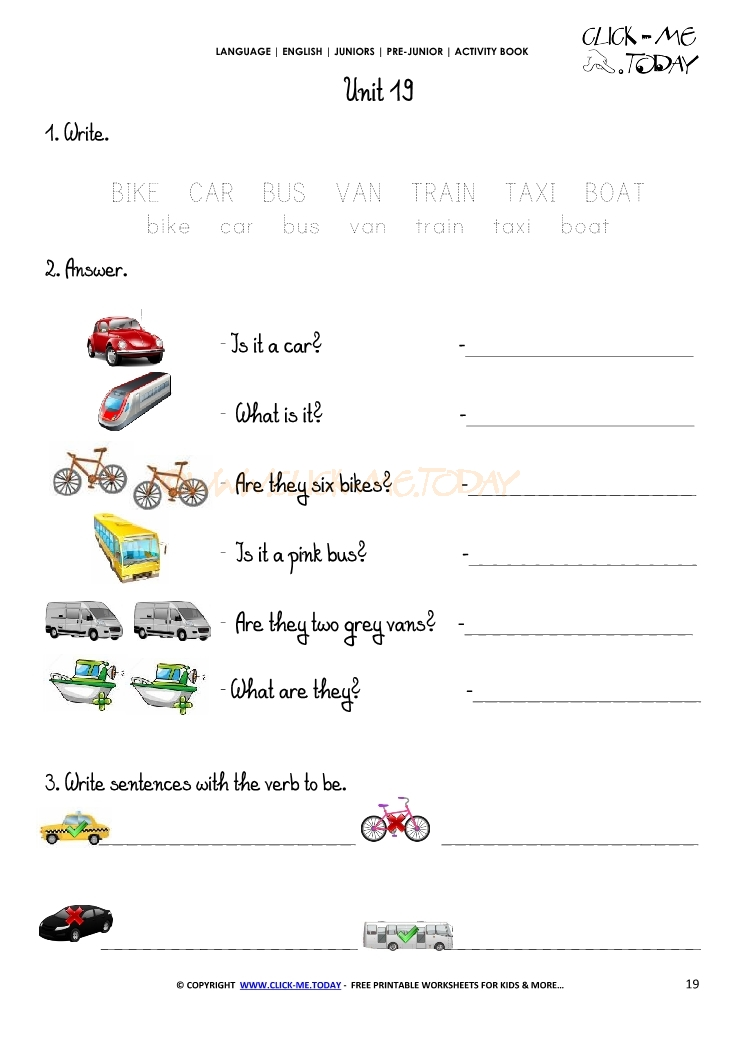 free printable beginner esl pre junior worksheet 19 means of transport. Black Bedroom Furniture Sets. Home Design Ideas