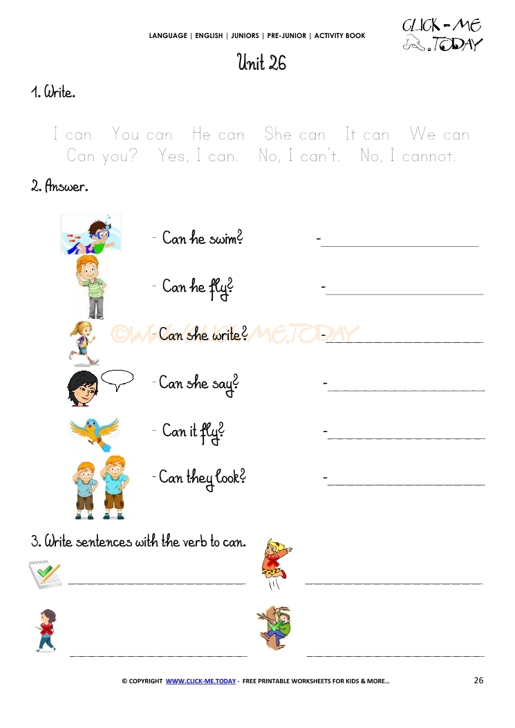 PRINTABLE BEGINNER ESL PRE-JUNIOR WORKSHEET 26 - VERB TO CAN