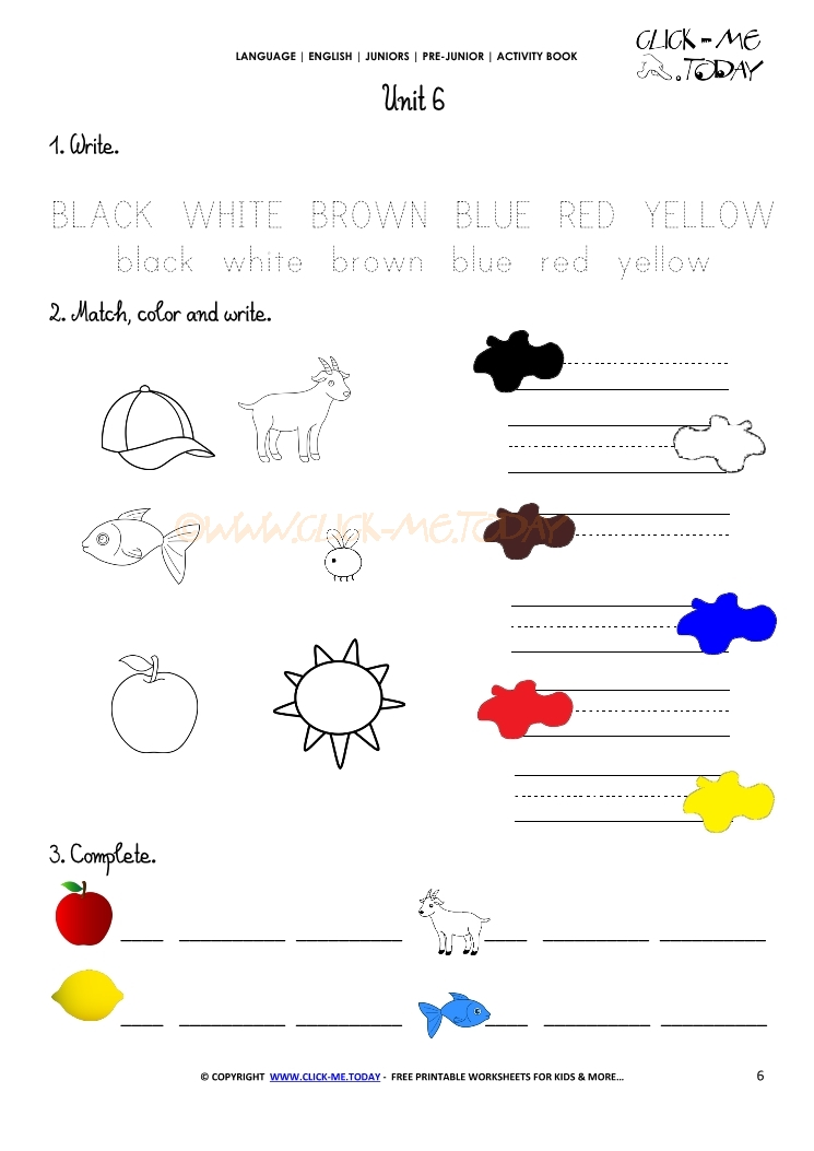 PRINTABLE BEGINNER ESL PRE-JUNIOR WORKSHEET 6 - COLORS