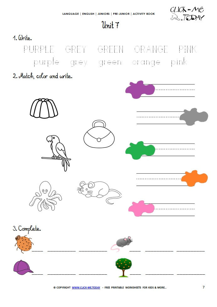 PRINTABLE BEGINNER ESL PRE-JUNIOR WORKSHEET 7 - COLORS