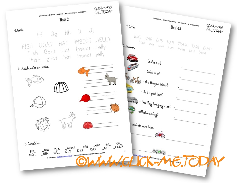 FREE BEGINNER ESL PRE-JUNIOR WORKSHEETS  - ACTIVITY BOOK