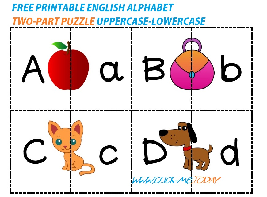 FREE PRINTABLE ENGLISH ALPHABET TWO-PART PUZZLE UPPERCASE-LOWERCASE