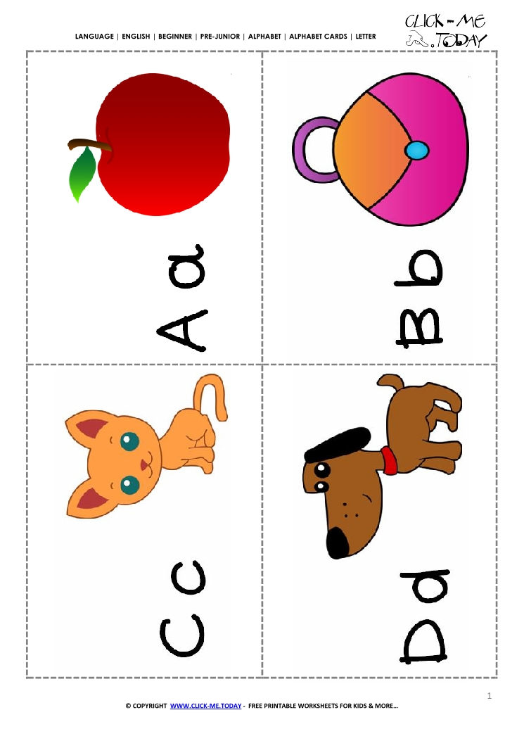 Alphabet cards with pictures ABCD