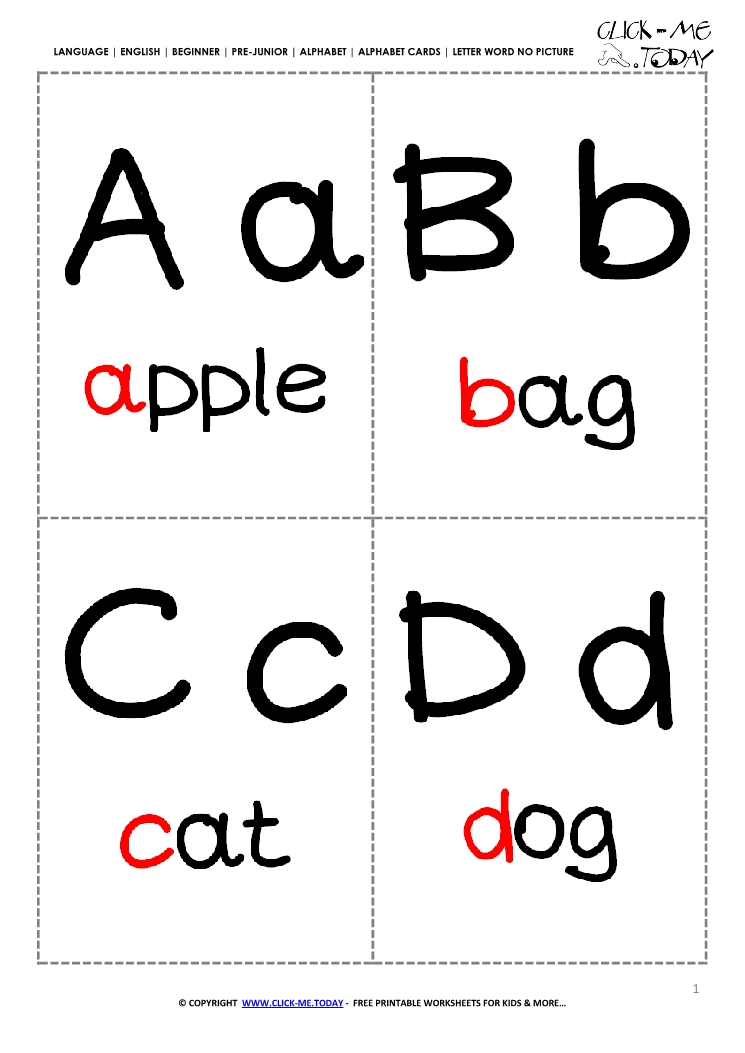 Alphabet flashcards without pictures