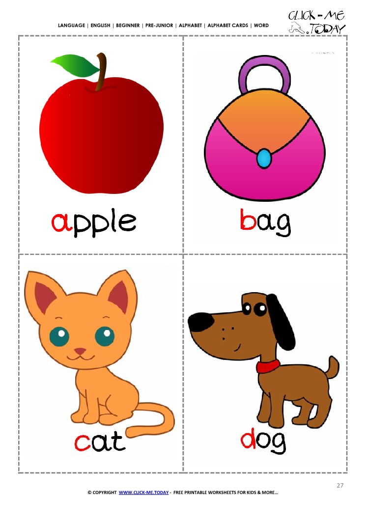 Printable alphabet flashcards - Picture u0026 Word ABCD