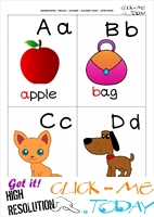 ENGLISH ALPHABET PICTURE FLASHCARD A B C D