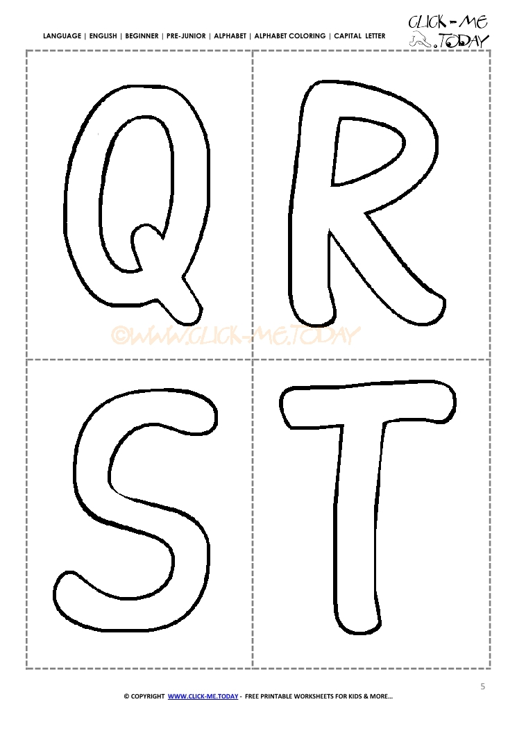 Free Alphabet capital letters cards QRST