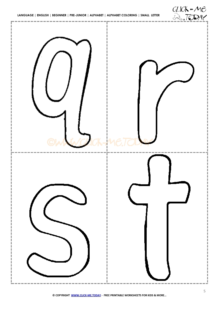 Free Alphabet Small Letters For Preschool Qrst