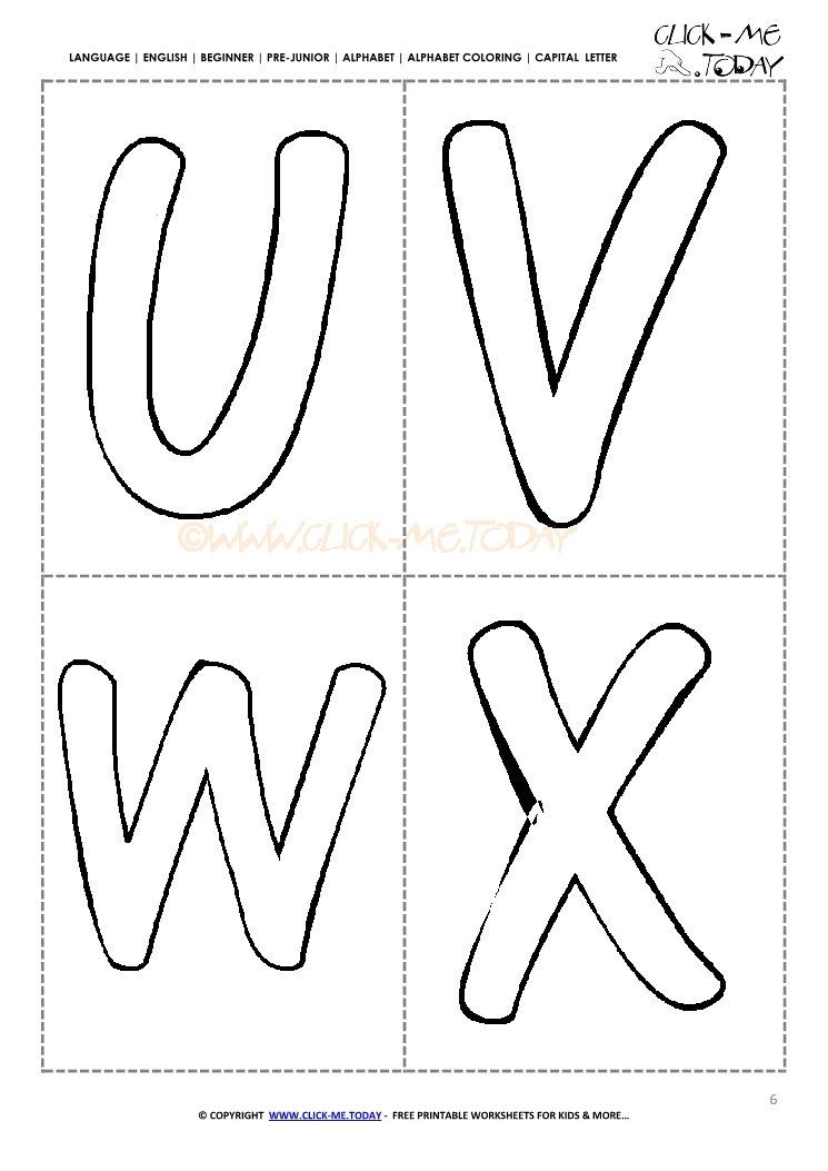 Free Printable Alphabet Capital Letters Uvwx