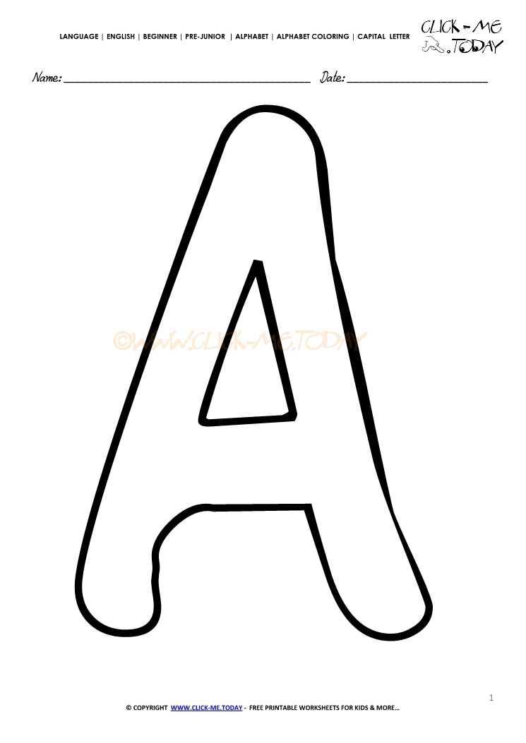 Alphabet Capital Letter Coloring Page A