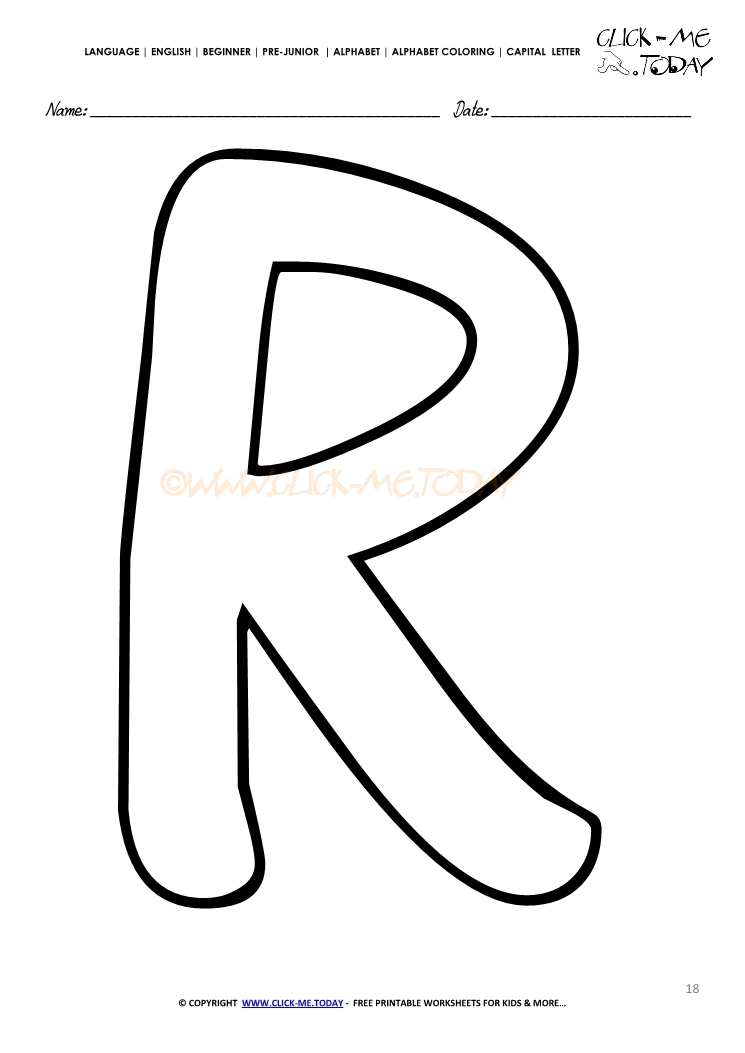 Alphabet Capital Letter Coloring Page R