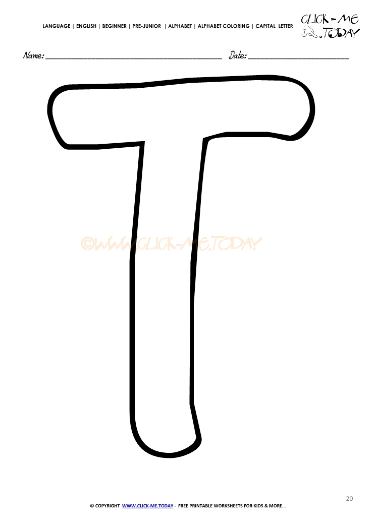 Alphabet Capital Letter Coloring Page T
