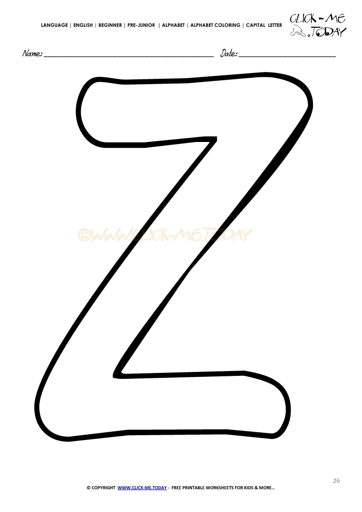 Alphabet Capital Letter Coloring Page Z