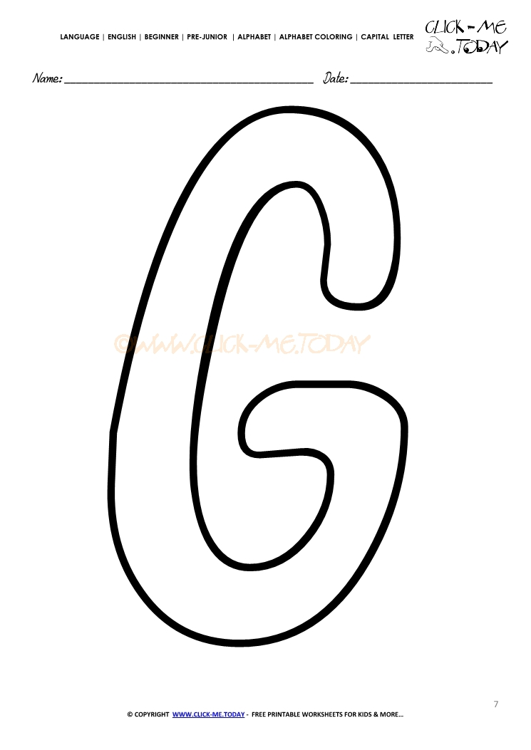 Alphabet Capital Letter Coloring Page G