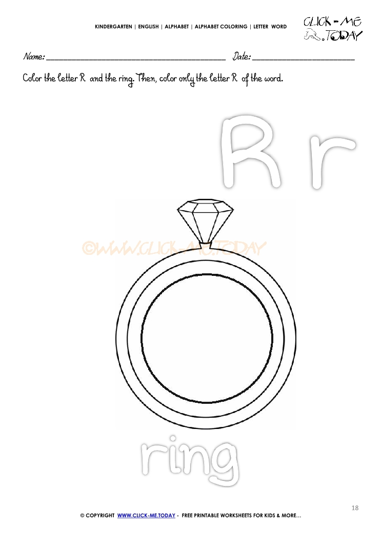 alphabet coloring letter word r
