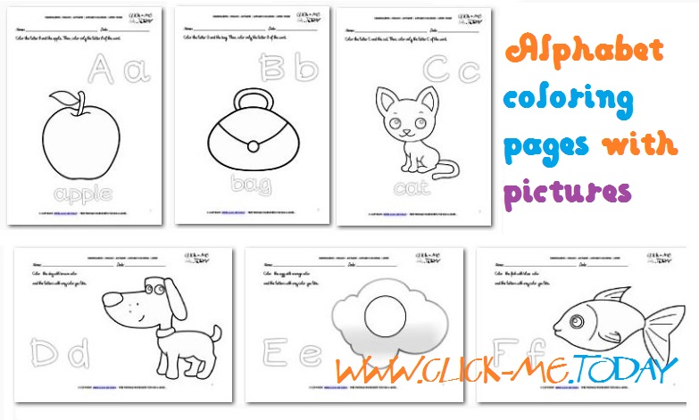 Alphabet coloring pages with pictures