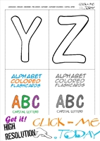 Free Alphabet capital letters cards YZ