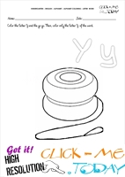 ALPHABET COLORING LETTER-WORD Y
