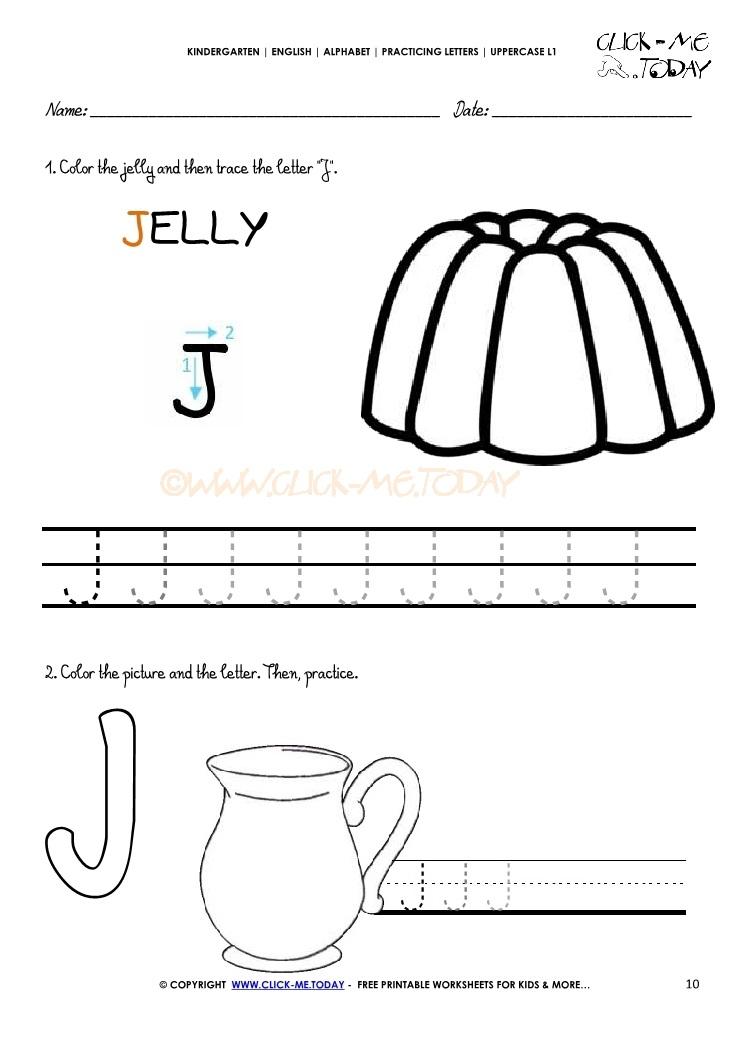 Alphabet Handwriting Worksheet Letter J