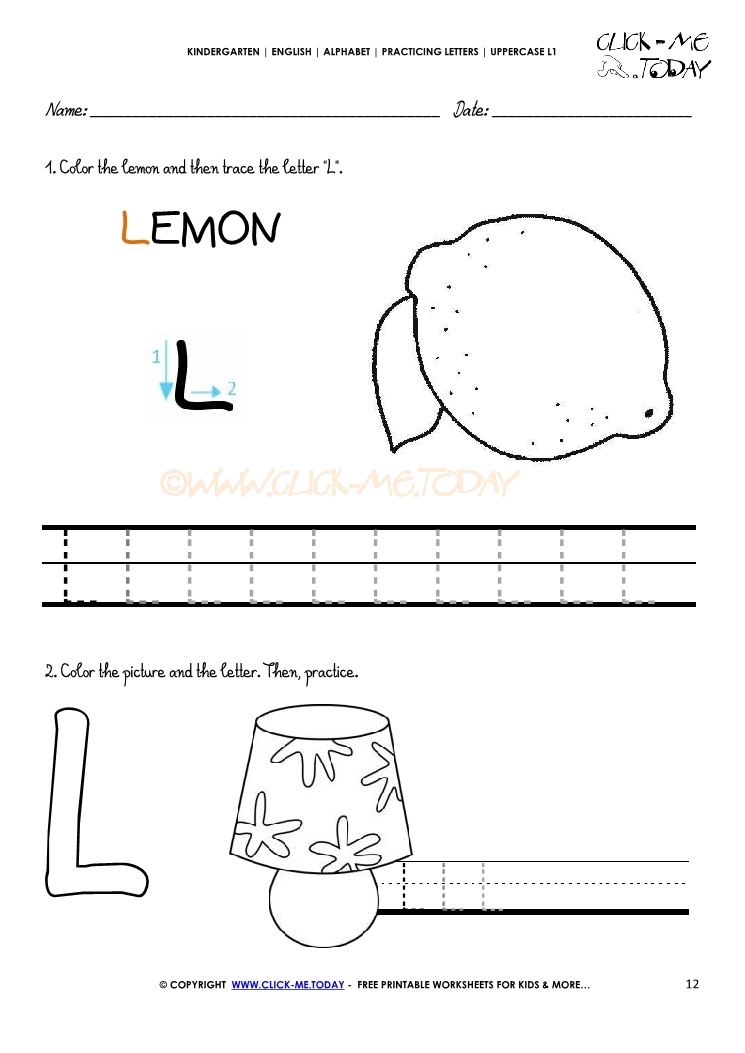 Alphabet handwriting worksheet Letter L