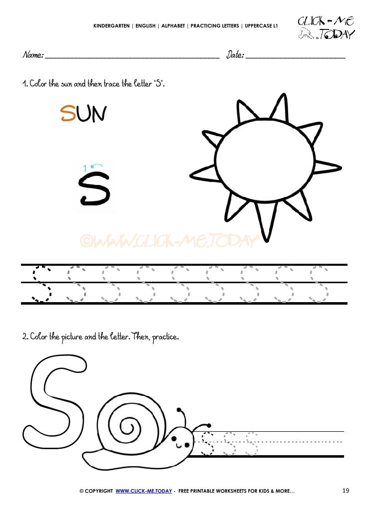 Alphabet Handwriting Worksheet Letter S