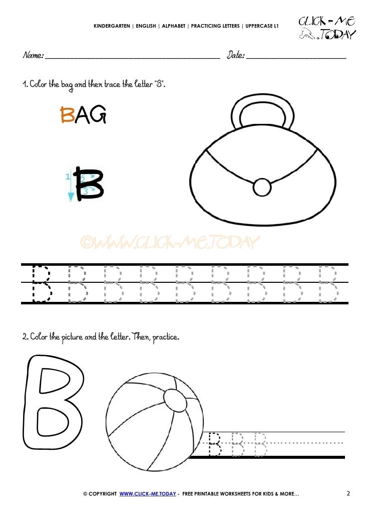 Alphabet Handwriting Worksheet Letter B
