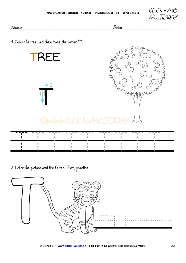 handwriting worksheet Letter T