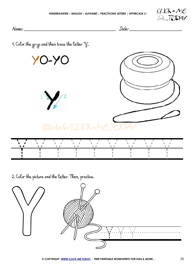 Alphabet Handwriting Worksheet Letter Y