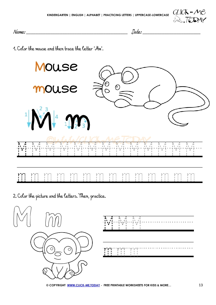 Alphabet tracing worksheets How to write letter M