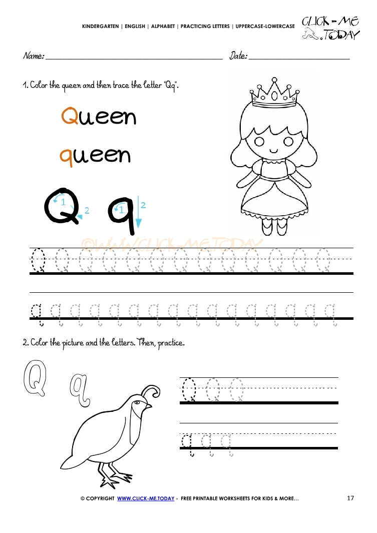 Alphabet tracing worksheets - Letter Q