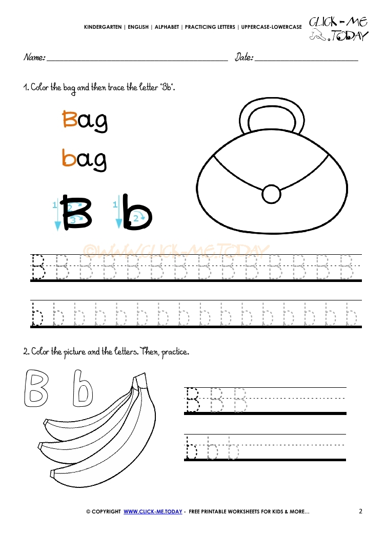 Alphabet tracing worksheets - How to write letter B