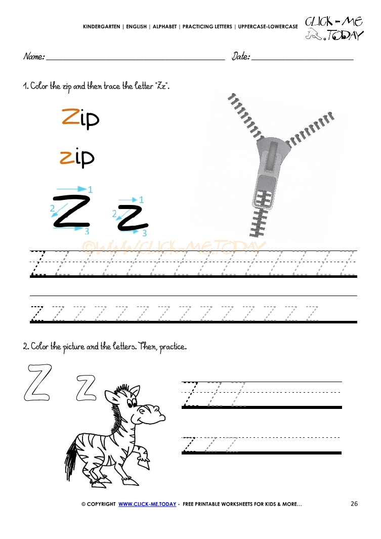 Alphabet Tracing Worksheets How To Write Letter Z