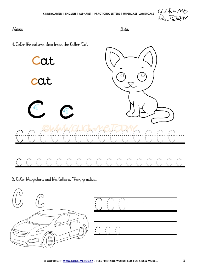 Alphabet tracing worksheets - How to write letter C