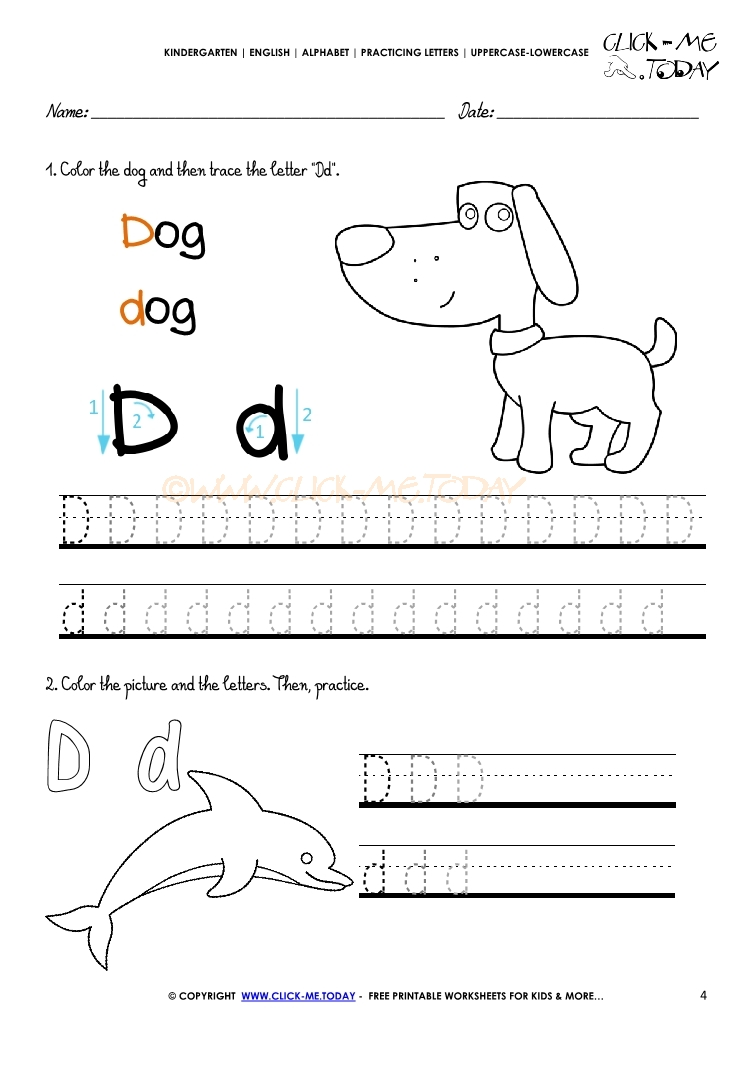 Alphabet Tracing Worksheets   Letter D