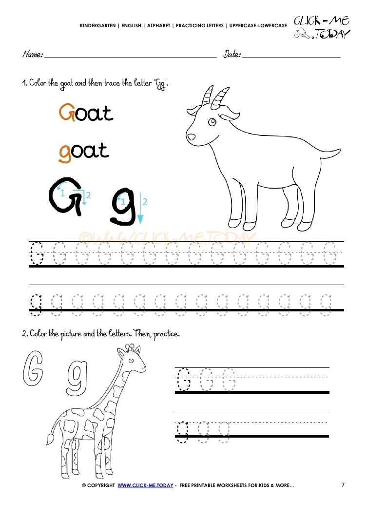 Workbooks letter g printable worksheets : Alphabet tracing worksheets - How to write letter G