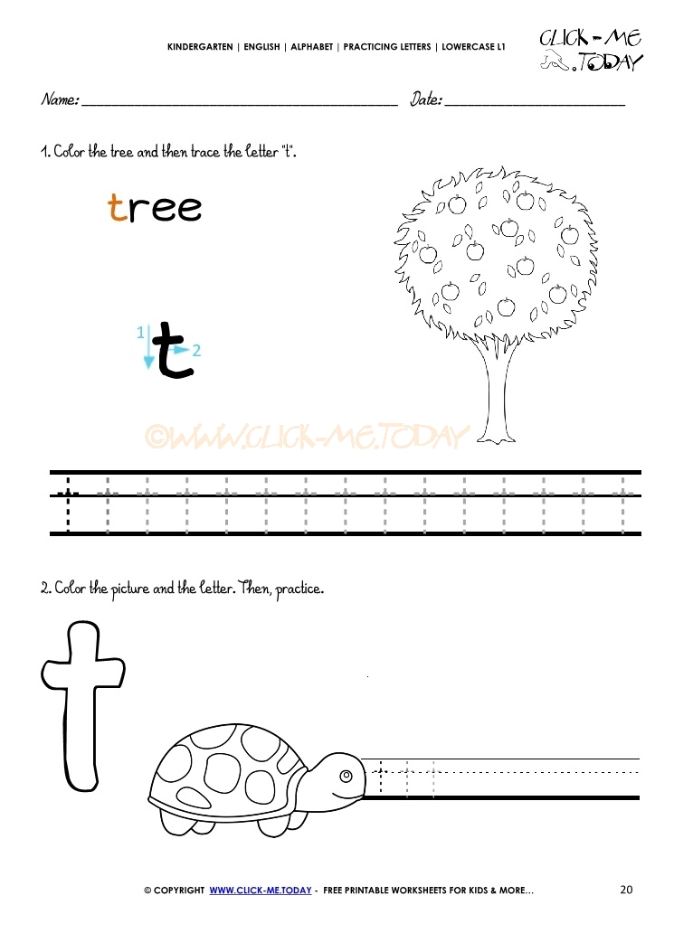 Alphabet Writing Worksheet For Letter T