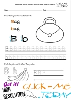 Alphabet tracing worksheets - Letter B