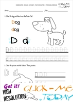 Alphabet tracing worksheets - Letter D