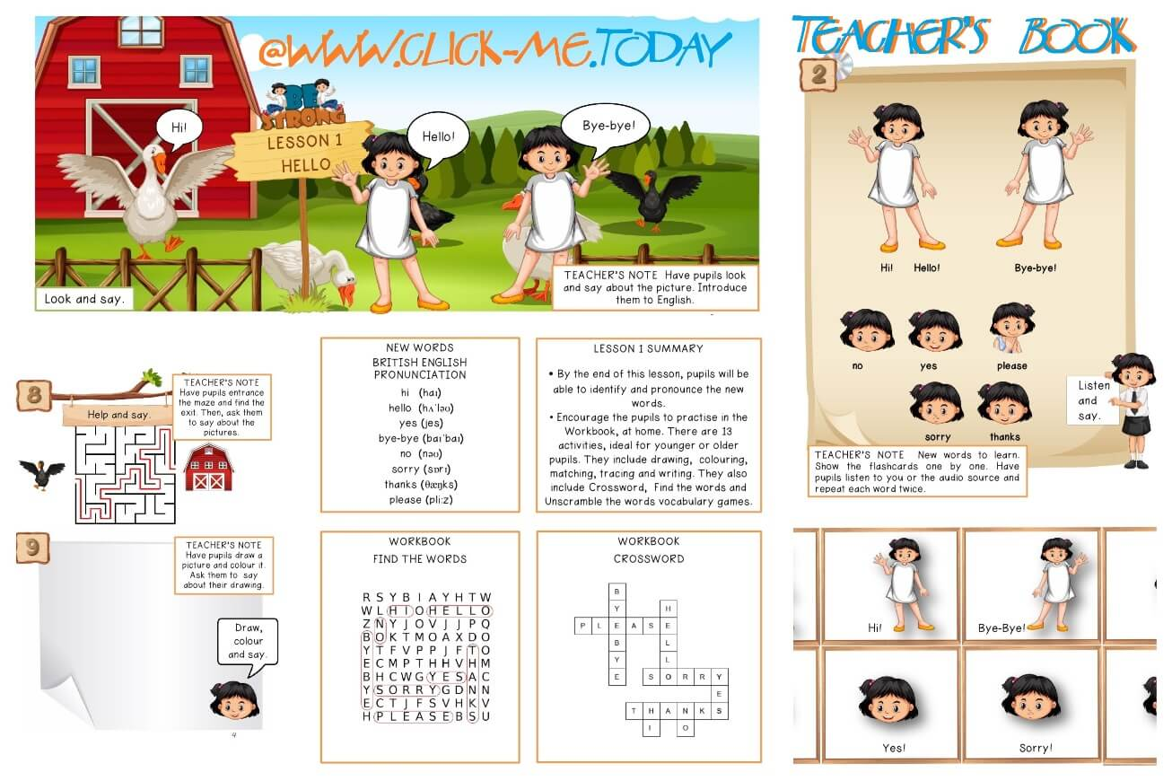 FREE ESL PRE-JUNIOR BE STRONG TEACHER'S  BOOK - LESSON PLAN 1 - HELLO PDF