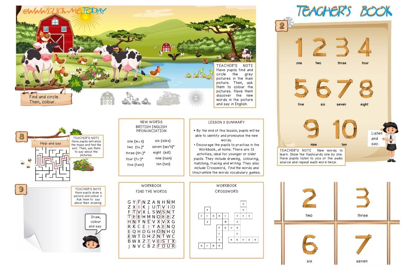 FREE ESL PRE-JUNIOR BE STRONG TEACHER'S  BOOK - LESSON PLAN 3 - NUMBERS PDF