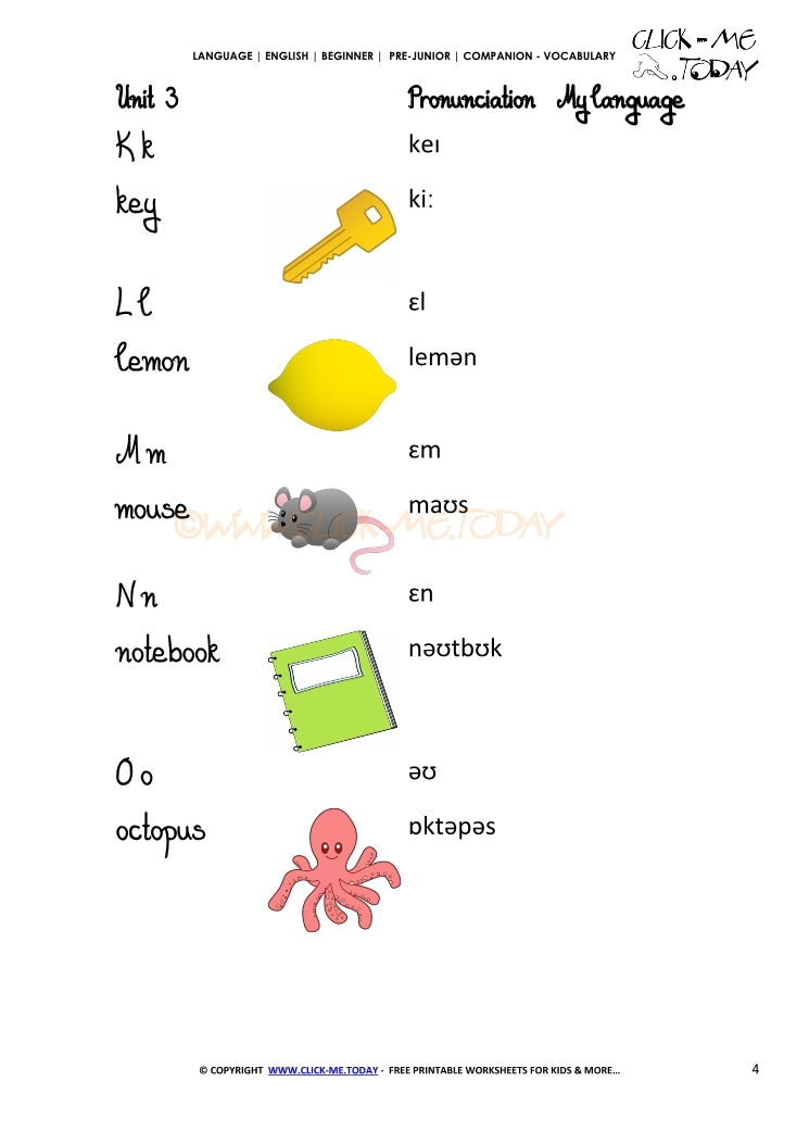 FREE PRINTABLE BEGINNER ESL PRE-JUNIOR - VOCABULARY SHEET 4 - ALPHABET