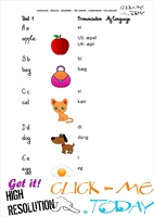 FREE PRINTABLE BEGINNER ESL PRE-JUNIOR - VOCABULARY SHEET 2 - ALPHABET