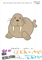 Printable Arctic Animal Little Walrus wall card - Walrus flashcard