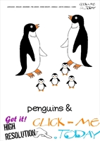 Printable Arctic Animal Penguins wall card - Penguins flashcard